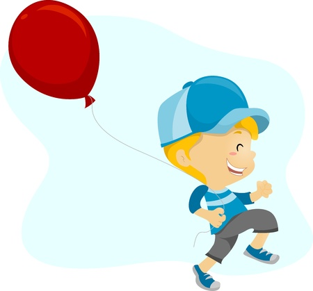 skipping: Illustration of a Kid Happily Holding a Balloon