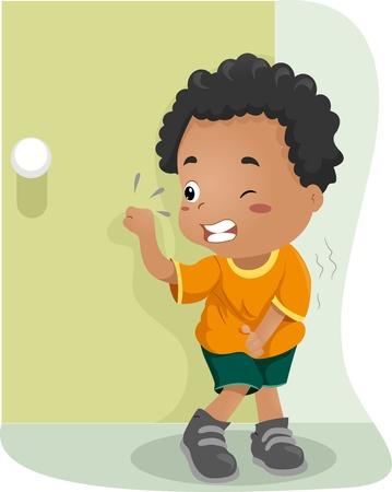 Ilustración de un chico mantiene su Pee