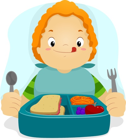 Illustration of a Kid Preparing to Eat His Lunch illustration