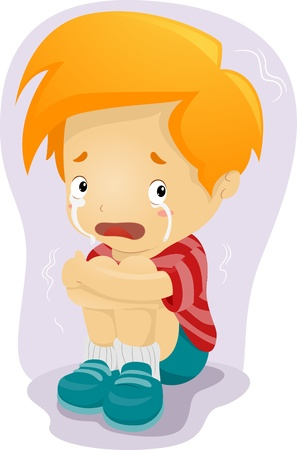 anxious: Illustration of a Kid Crying in Fear Stock Photo