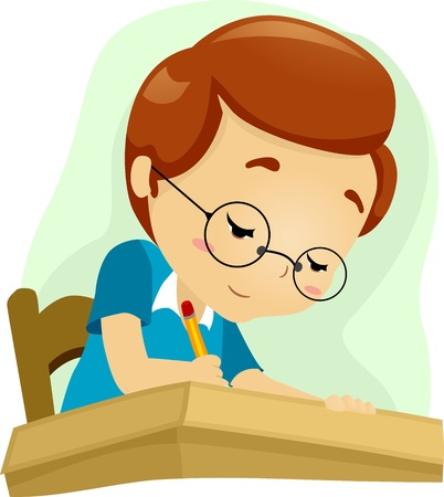 studious: Illustration of a Geeky Student Studying