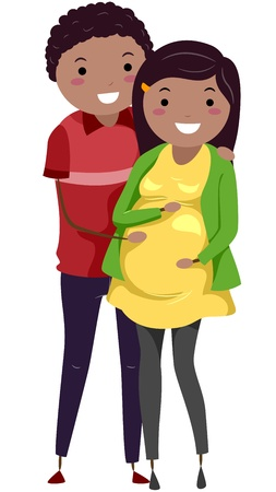 Illustration of a Pregnant Stickwoman and Her Husband illustration