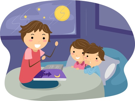 parenting: Illustration of Kids Listening to a Bedtime Story
