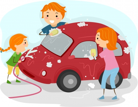 wash: Illustration of a Family Washing Their Car