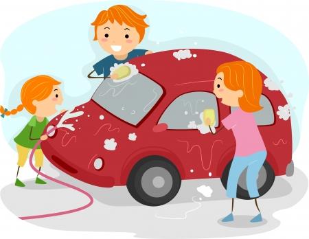autolavaggio: Illustrazione di una famiglia di lavarsi le auto Archivio Fotografico