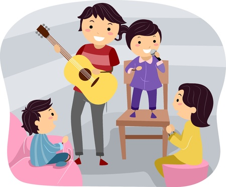 bonding: Illustration of a Family Holding a Cultural Night