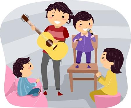 family clipart: Illustrazione di una famiglia in attesa di una notte culturale