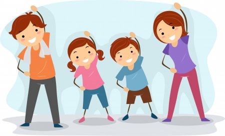 stretching exercise: Illustration of a Family Exercising Together Stock Photo