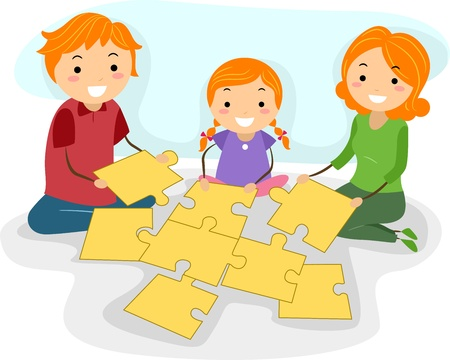 Illustration of a Family Solving a Jigsaw Puzzle Together illustration