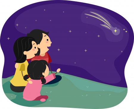 Illustration of a Family Stargazing illustration