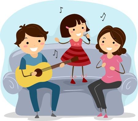 歌: 家族のイラストを一緒に歌う 写真素材