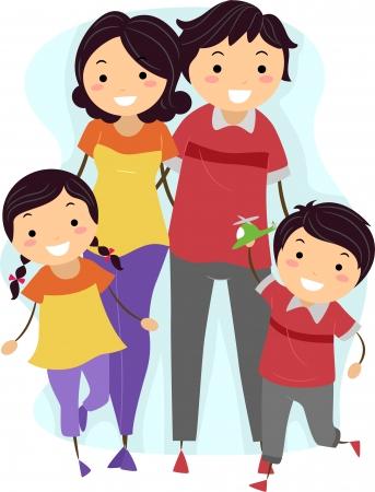family clipart: Illustrazione di una famiglia di indossare abiti di corrispondenza