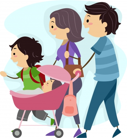 walk of life: Illustration of a Family Taking a Stroll Together