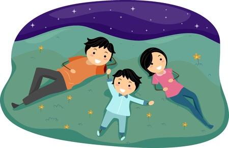 Illustration of a Family Stargazing illustration