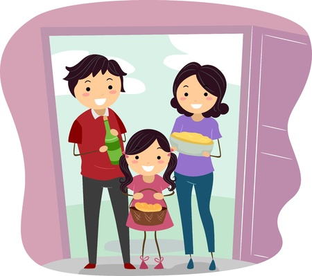 housewarming: Illustration of a Family Carrying Housewarming Presents