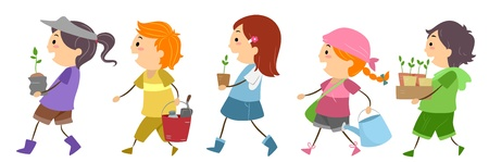 Illustration of Kids Carrying Gardening Materials illustration