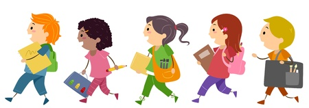recreation: Illustration of Kids Going to Art School
