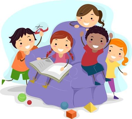 playmates: Ilustración de niños jugando