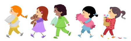 Illustration of Kids Going to a Slumber Party illustration