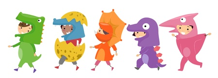role play: Illustration of Kids Wearing Dinosaur Costumes