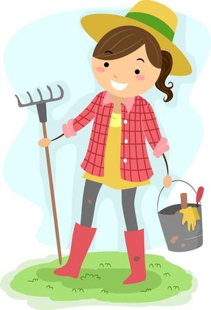 Illustration of a Girl Carrying Gardening Tools illustration