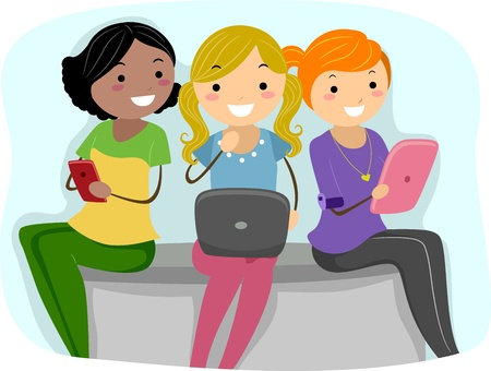 Illustration of Girls Using Tablet PCs illustration