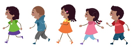 Illustration of Walking Kids illustration
