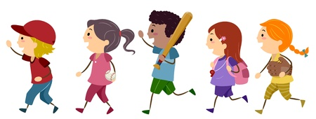 Illustration of Kids Off to Play Baseball illustration