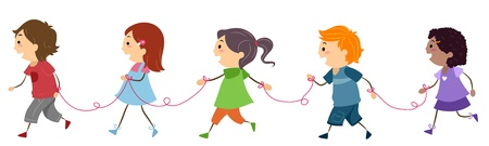 Illustration of Friends Connected by a String illustration