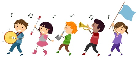female child: Illustration of a Marching Band Composed of Kids