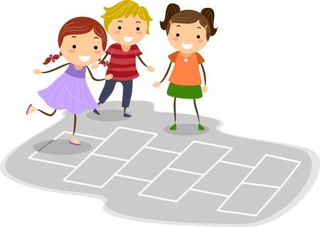 playmates: Ilustración de niños jugando a la rayuela