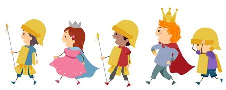 prince: Illustration de Kids imitant une parade royale