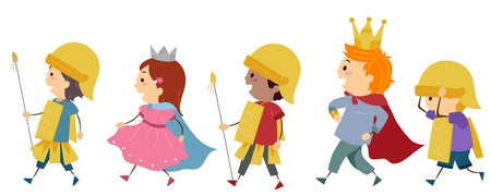 costumes: Illustration of Kids Imitating a Royal Parade