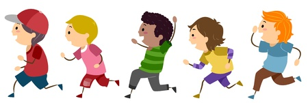 female child: Illustration of Running Boys Stock Photo