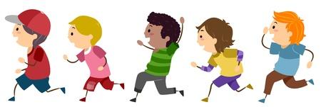 chasing: Illustration of Running Boys Stock Photo
