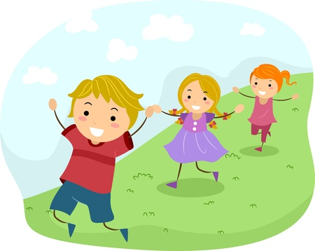 playmates: Ilustración de niños corriendo cuesta abajo Foto de archivo