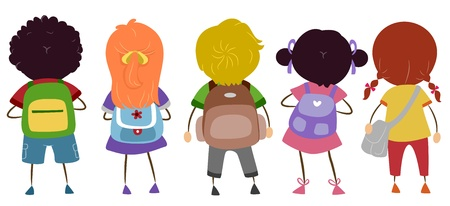 backpacks: Illustration of Kids Carrying Schoolbags