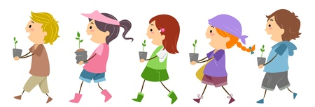 Illustration of Kids Carrying Seedlings illustration
