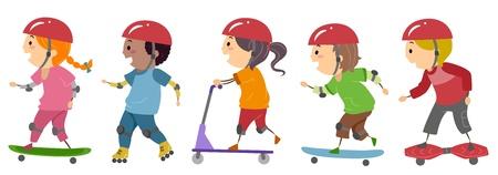 skateboarding: Illustration of Kids Riding on Skateboards