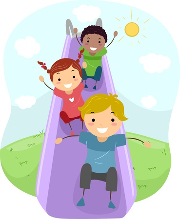 Illustration of Kids Playing with a Slide