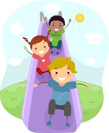 bambini che giocano: Illustrazione di giochi per bambini con scivolo