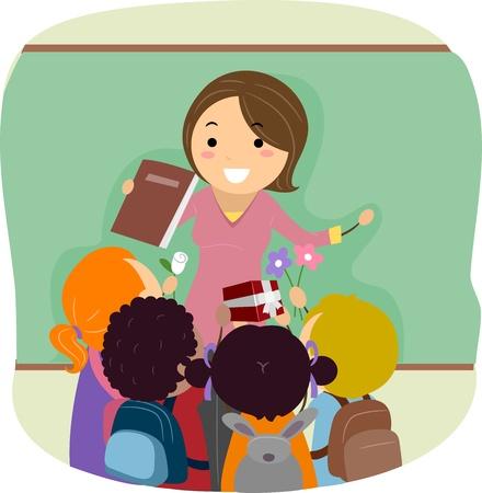 docenten: Illustratie van Kids vieren Teachers 'Day Stockfoto
