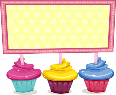 Illustration of a Board Sitting on Cupcakes Stock Illustration - 13340486