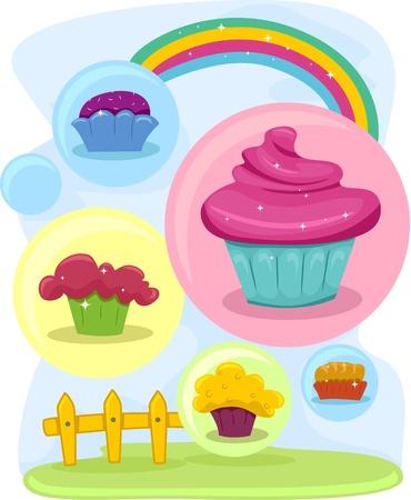 Illustration of Colorful Cupcake Design Elements Stock Illustration - 13340485