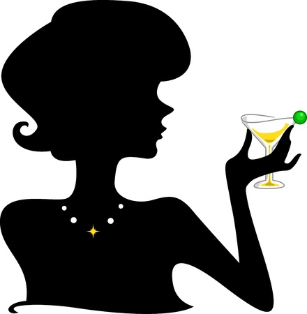 woman side view: Silhouette of a Girl Holding a Wineglass Stock Photo