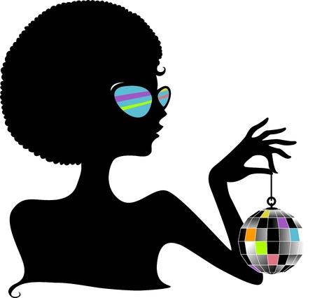 tanzen cartoon: Silhouette eines M�dchen, die eine Disco-Kugel Lizenzfreie Bilder