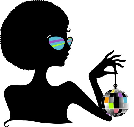 woman side view: Silhouette of a Girl Holding a Disco Ball