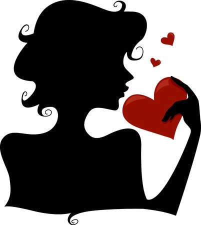 admirer: Silhouette of a Girl Holding a Heart Stock Photo