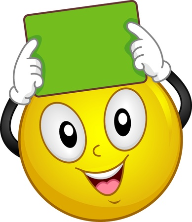 Illustration of a Smiley Holding a Blackboard illustration
