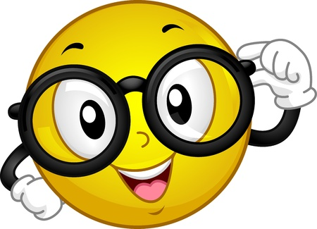 Illustration of a Smiley Wearing Glasses Stock Photo